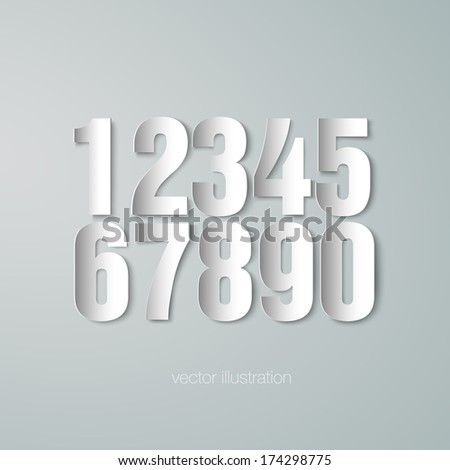 set of vector paper numerals - stock vector