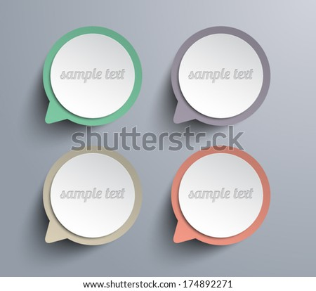 Set of vector paper speech bubbles banners for business design, infographics, reports, number options, step presentation, progress, workflow layout or websites