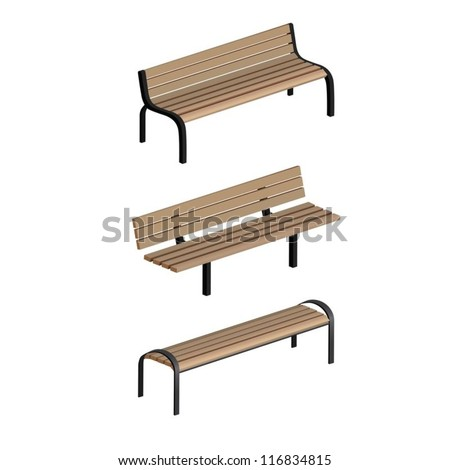 Set of 3 vector park benches isolated on white background - stock vector