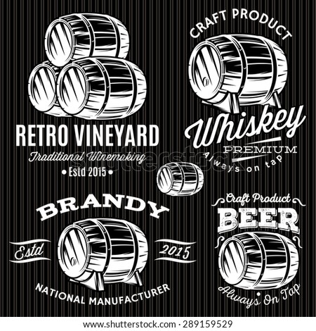 set of vector patterns for monochromatic emblems with barrels - stock vector