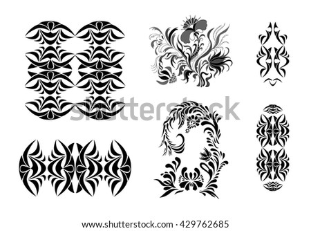 Set of vector  patterns  in black and white.  Big set of design elements, frame, border, geometric ornament.