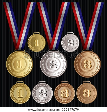set of vector patterns medals of gold, silver, bronze - stock vector