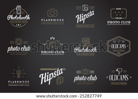 Set of Vector Photo Camera Photography Elements and Video Camera Icons Illustration can be used as Logo or Icon in premium quality - stock vector