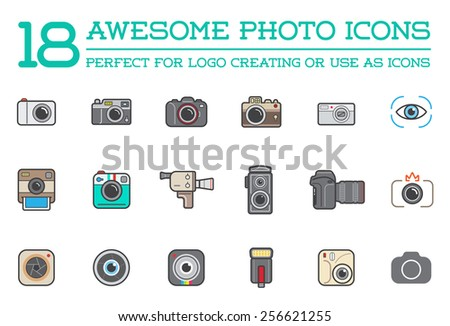 Set of Vector Photo Camera Photography Elements and Video Camera Icons Illustration can be used as Logo or Icon in premium quality Flat Icons Style