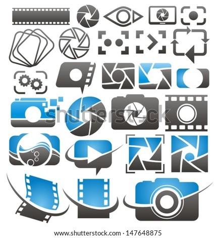 Set of vector photography and video icons, symbols, logo designs and signs. Photo and camera design elements collection.  - stock vector