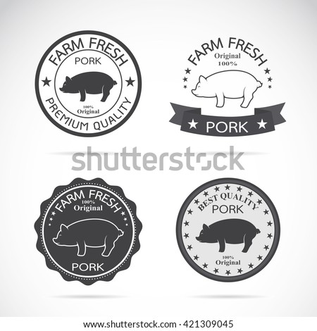 Set of vector pig label on white background, Logo, Symbol, banners