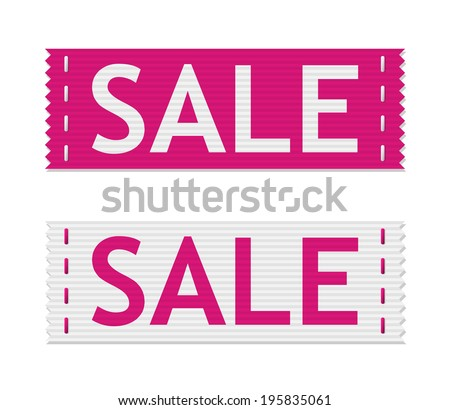 set of vector pink sale signs on piece of textile - stock vector