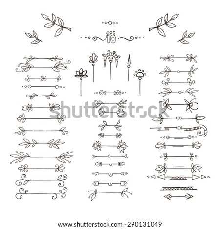 Set of vector plant frames, dividers, branches. Doodle