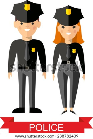 Set of vector  police peoples, policeman and  police woman. Vector illustration of a vector policeman and  police woman  - stock vector