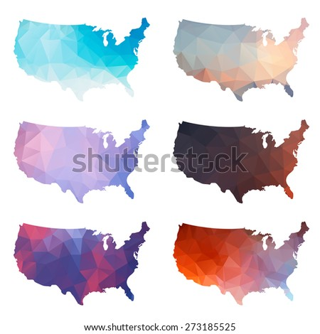 Set of vector polygon shapes USA on white isolated background. Multicolored map of America in geometric style for flyers, brochures and cards. - stock vector