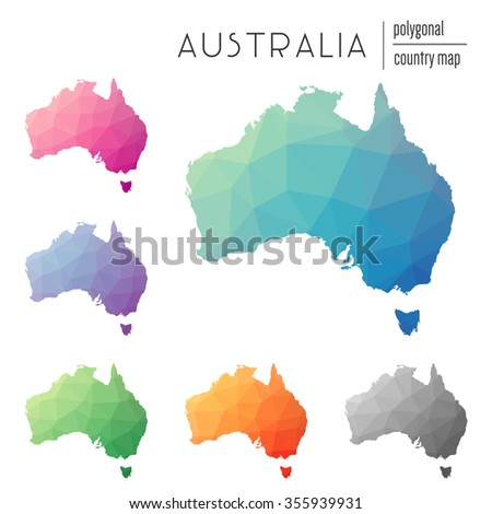Set of vector polygonal Australia maps. Bright gradient map of country in low poly style. Multicolored country map in geometric style for your infographics - stock vector