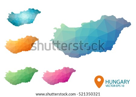 Set of vector polygonal Hungary maps. Bright gradient map of country in low poly style. Multicolored country map in geometric style for your infographics. Vector illustration eps 10.