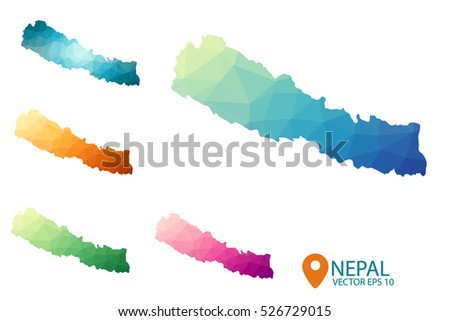 Set of vector polygonal Nepal maps. Bright gradient map of country in low poly style. Multicolored country map in geometric style for your infographics. Vector illustration eps 10.