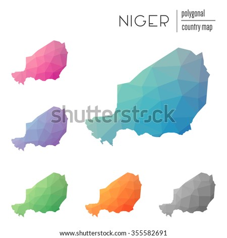 Set of vector polygonal Niger maps. Bright gradient map of country in low poly style. Multicolored country map in geometric style for your infographics
