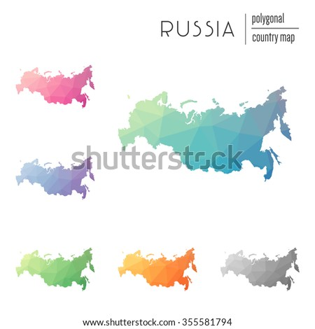 Set Vector Polygonal Russia Maps Bright Stock Vector 355581794