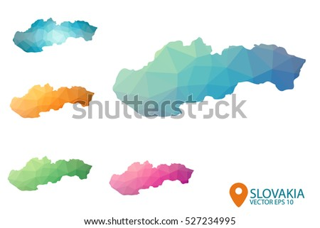 Set of vector polygonal Slovakia maps. Bright gradient map of country in low poly style. Multicolored country map in geometric style for your infographics. Vector illustration eps 10.