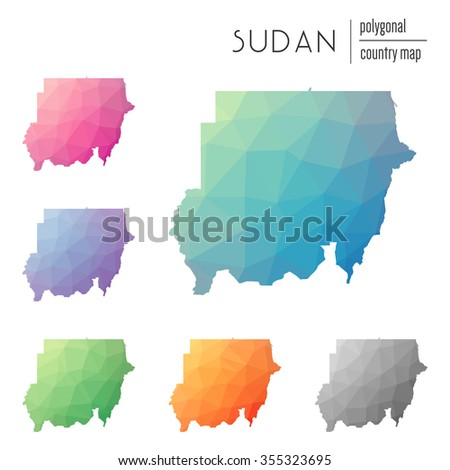 Set of vector polygonal Sudan maps. Bright gradient map of country in low poly style. Multicolored country map in geometric style for your infographics