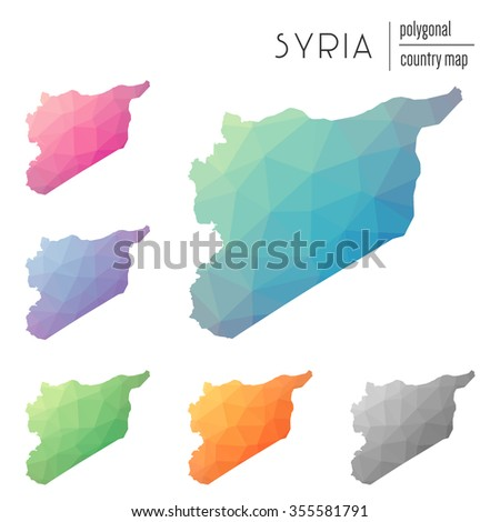 Set of vector polygonal Syria maps. Bright gradient map of country in low poly style. Multicolored country map in geometric style for your infographics - stock vector