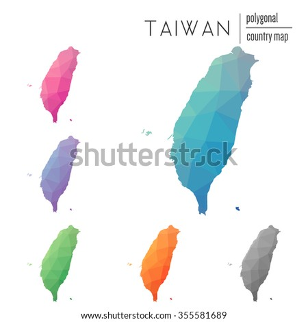 Set of vector polygonal Taiwan maps. Bright gradient map of country in low poly style. Multicolored country map in geometric style for your infographics - stock vector