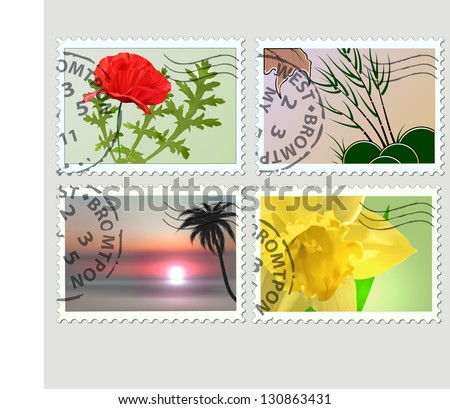 Set of vector post stamps. Plants theme - stock vector