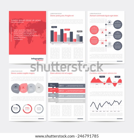 Set of vector poster infographic templates. Abstract background for business documents, flyers, posters and placards with infographics. - stock vector