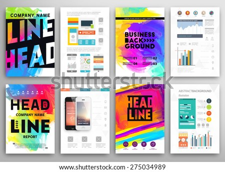 Set of Vector Poster Templates with Watercolor Paint Splash. Abstract Aquarelle Background for Business Flyers, Posters and Placards. Mobile Technologies Concept. Flat Style Web and Info graphic Icons. - stock vector