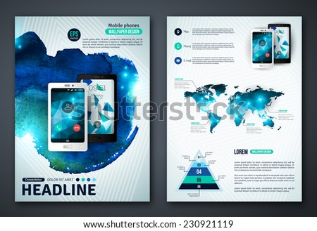 Set of Vector Poster Templates with Watercolor Paint Splash. Abstract Background for Business Documents, Flyers and Placards. Mobile Technologies, Applications and Online Services Infographic Concept. - stock vector