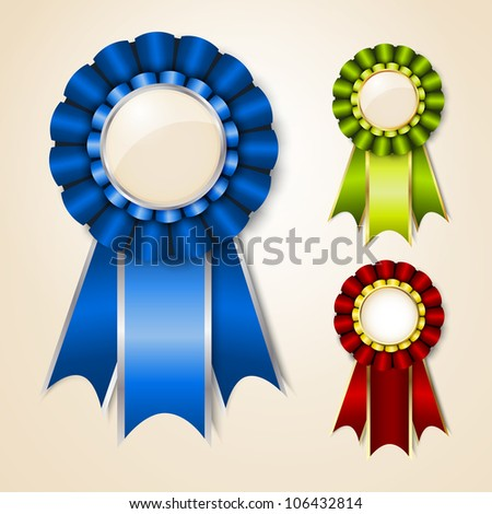 Set of vector prize ribbons with place for text