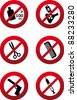 Set of vector prohibition signs - stock vector