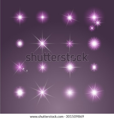 Set of Vector purple glowing light effect stars bursts with sparkles - stock vector