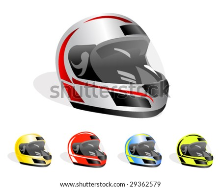set of vector racing helmets - stock vector