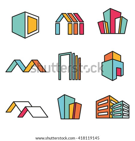 Set of vector real estate house logo designs, Vector, flat icon, badges, labels, clip art. Lineart style. Variable line - stock vector