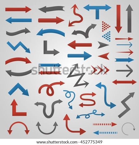 Set of vector realistic arrows for website and decoration. Collection of interface directional elements.