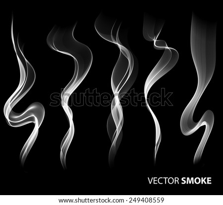 Set of Vector realistic smoke on black background  - stock vector