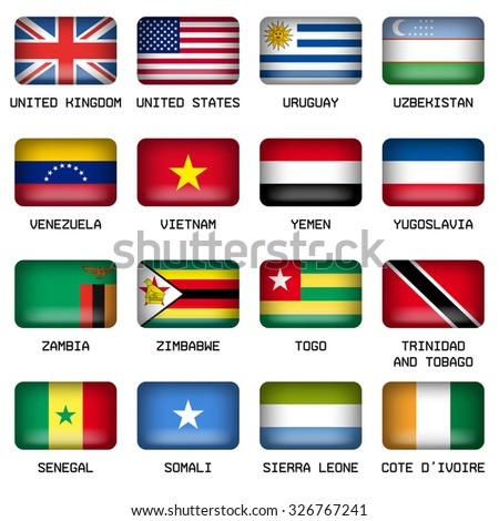 Set of Vector Rectangle Pillow Button Shape Flags of the World Most States