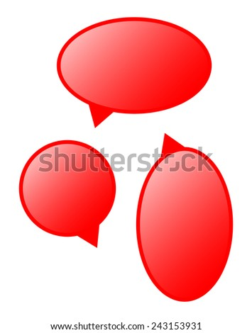 set of vector red comics rounded bubbles
