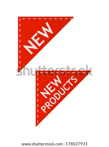 set of vector red new signs on piece of textile - stock vector