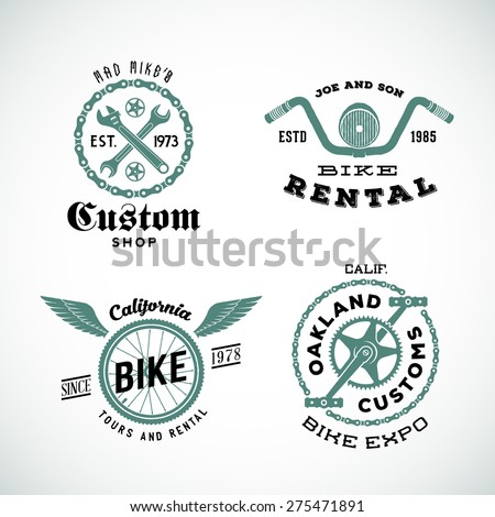 Set of Vector Retro Bicycle Custom Labels or Logos Isolated.  - stock vector