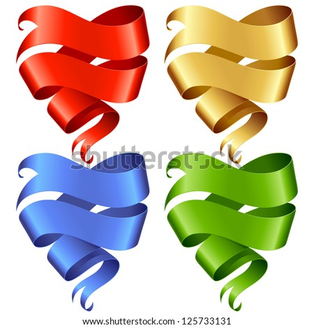 Set of vector Ribbon banner in the shape of heart isolated on white background - stock vector
