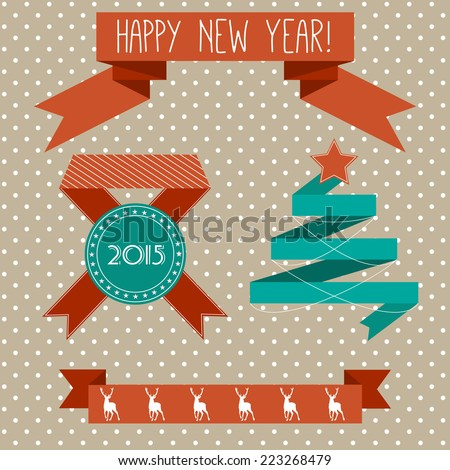Set of vector ribbons with Christmas elements in flat design - stock vector