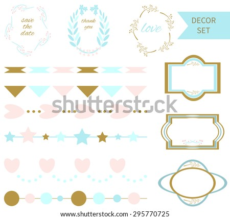 Set of vector romantic design elements. Perfect for valentine�¢??s day card and wedding invitation, save the date cards, baby shower. Graphic set, hearts, laurel, wreaths, ribbons, labels.