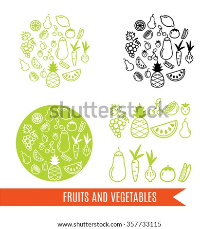 Set of vector round background elements. Line fruit and vegetable drawings. Apple, pineapple, grapes, lemon, pear, cherries,strawberries, aubergine, onion, carrot, tomato. - stock vector