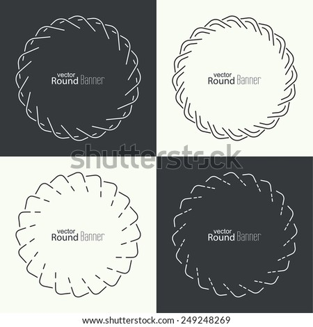 Set of vector round banners with line and dot, seals, emblems, badges. Outline labels. minimal design - stock vector