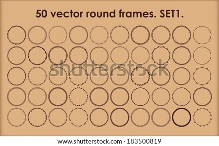 Set of 50 vector round frames in different styles. Set 1. - stock vector