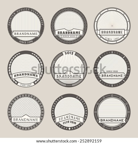 Set of vector round label templates.Logotypes and badges stencils with various design elements and symbols. Graphic collection for product promotion and advertising isolated on white background - stock vector