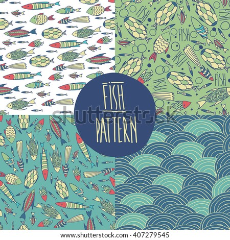 Set of vector sea patterns with cute fishes and waves. Primary colors blue and green. Vector illustration - stock vector