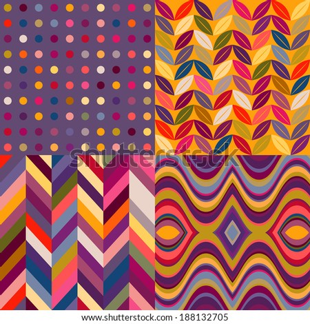 Set of Vector Seamless Abstract Backgrounds, Retro Multicolored Patterns - stock vector
