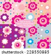 Set of vector seamless backgrounds with decorative flowers and polka dots - stock vector