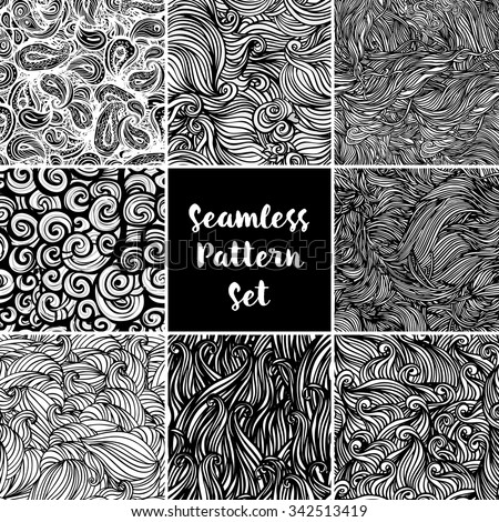 Set Eight Black White Wave Patterns Stock Vector 96672064 ...