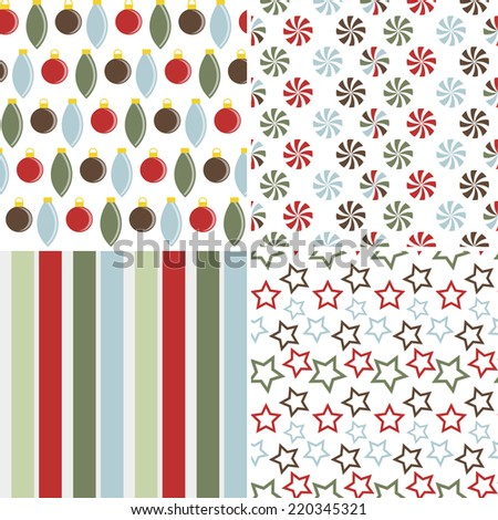 Set of 4 Vector Seamless Christmas Patterns - stock vector